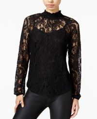 Bar Iii Mock Neck Lace Top Only At Macy's Deep Black