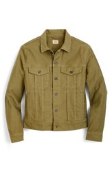 J.Crew Garment Dyed Bedford Cord Trucker Jacket Sun Faded Olive