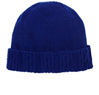 Inis Meain Men's Cable Cuff Merino Wool Cap Blue
