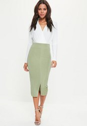 Missguided Green Split Front Longline Slinky Midi Skirt Mint