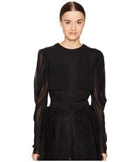 Vera Wang Long Sleeve Blouse With Patch Pocket Black Women's Blouse