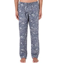 Zimmerli Paisley Print Cotton Pyjama Bottoms Indigo
