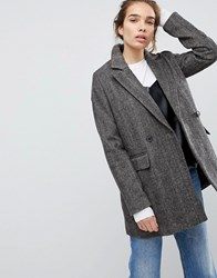 Pull And Bear Pullandbear Check Pea Coat Grey