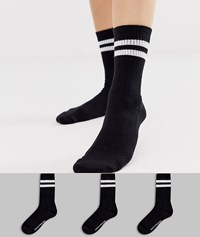 French Connection Sports Stripe 3 Pack Socks In Black