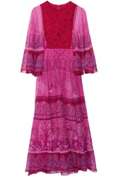 Valentino Printed Silk Chiffon Maxi Dress Fuchsia