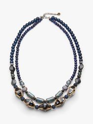 One Button Beaded Double Row Necklace Navy