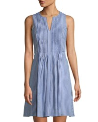 Cynthia Steffe Pintucked Striped Sleeveless Dress Blue
