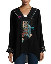 Johnny Was Lacy Trim Embroidered Blouse Black