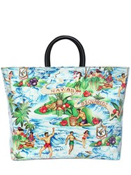 Dsquared Hawaii Printed Canvas And Pvc Tote Bag Multicolor
