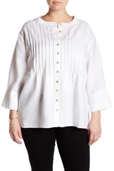 Allen Allen Button Front Pin Tuck Linen Shirt Plus Size White