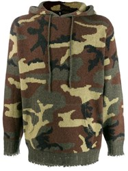 R 13 R13 Camouflage Hooded Jumper Green