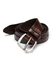 Orciani Distressed Leather Belt Dark Brown