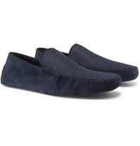 Loro Piana Walk At Home Suede And Cashmere Slippers Navy