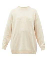 Balenciaga Logo Embroidered Cashmere Sweater Cream