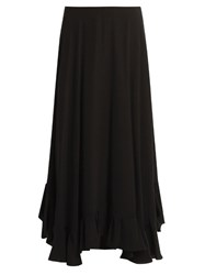 Chloe Flounce Hem Satin Back Crepe Midi Skirt Black
