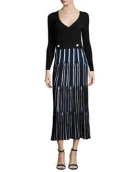 Derek Lam Long Sleeve V Neck Pleated Dress Navy