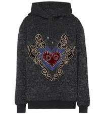 Dolce And Gabbana Embroidered Cotton Blend Hoodie Black