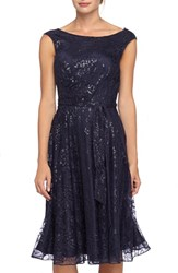 Women's Tahari Sequin Lace Fit And Flare Dress