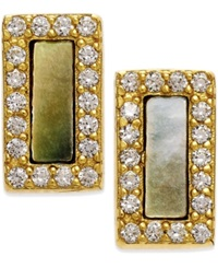 Studio Silver Mother Of Pearl And Cubic Zirconia Stud Earrings In 18K Gold Over Sterling Silver Yellow Gold