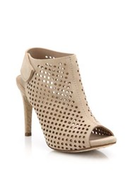 Pedro Garcia Sofia Perforated Suede Open Toe Booties