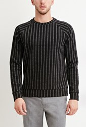 Forever 21 Striped Raglan Pullover Black Grey