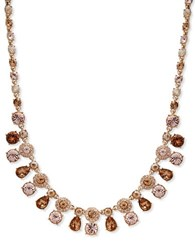 Givenchy White Metal And Glass Stone Neck Collar Necklace Gold