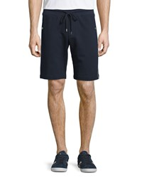 Moncler Side Stripe Cotton Sweat Shorts Navy Size Large