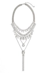 Cristabelle Multistrand Crystal Necklace Silver