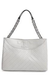Tory Burch Quilted Slouchy Leather Tote Grey Concrete