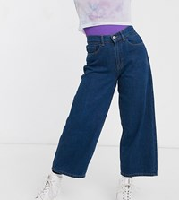 Noisy May Petite Wide Leg Jeans In Dark Blue