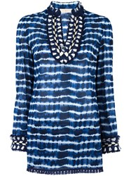 Tory Burch Tie Dye Tunic Top Blue
