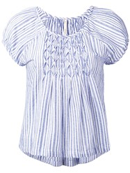 Bellerose Striped Cap Sleeve Blouse Women Cotton 1 White