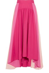 Peter Pilotto Asymmetric Color Block Cotton Poplin Midi Skirt Fuchsia