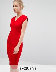 Closet London V Neck Pencil Dress With Cap Sleeve Red
