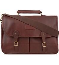 Barbour Classic Leather Briefcase Dk Brown