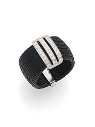 Alor Diamond Black Stainless Steel And 18K White Gold Ring