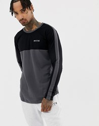 Nicce London Long Sleeve T Shirt In Black With Side Stripe