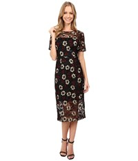 Donna Morgan Floral Embroidered Mesh Dress Black Cos Women's Dress