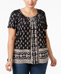Styleandco. Style Co. Plus Size Pleated Neck Printed Top Only At Macy's Boho Scarf