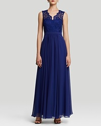 Js Collections Gown Sleeveless Double V Neck Lace And Chiffon Skirt Royal