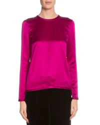 Tom Ford Long Sleeve Jewel Neck Blouse Fuchsia