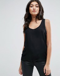 Jasmine Tank With Chain Sleeve Detail Black