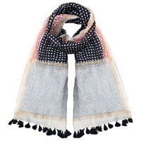 East Square Spot Tassle Scarf Navy