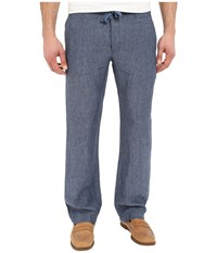 Perry Ellis Drawstring Linen Pants Bay Blue Men's Casual Pants