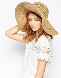 French Connection Floppy Hat Natural Beige