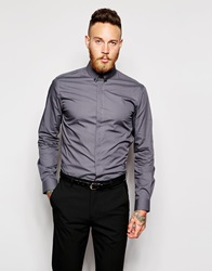 Religion X Noose And Monkey Shirt With Skull Collar Bar In Skinny Fit Charcoal