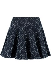 Just Cavalli Pleated Embroidered Denim Mini Skirt Blue
