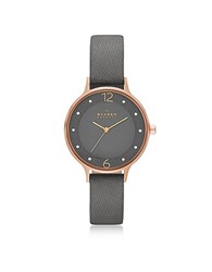 Skagen Anita Rose Goldtone Stainless Steel Women's Watch W Gray Leather Band Pink