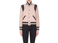Saint Laurent Women's Leather Trim Virgin Wool Blend Varsity Jacket Pink