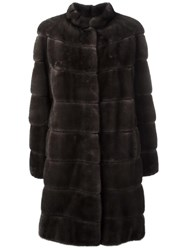 Salvatore Ferragamo Classic Fur Coat Brown